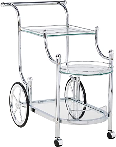 Wheeled Serving Cart with Finials Chrome and Clear