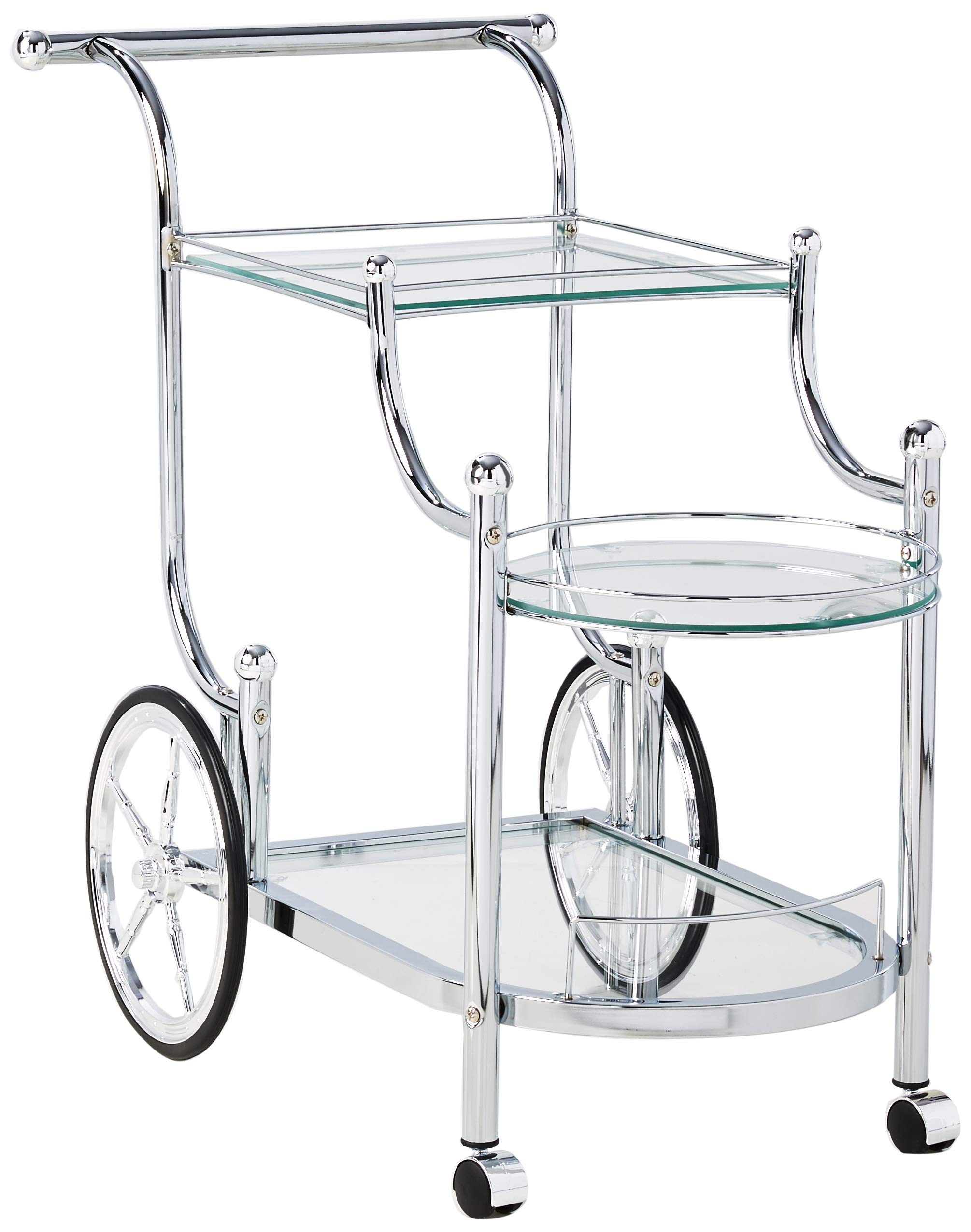 Wheeled Serving Cart with Finials Chrome and Clear by Coaster Home Furnishings