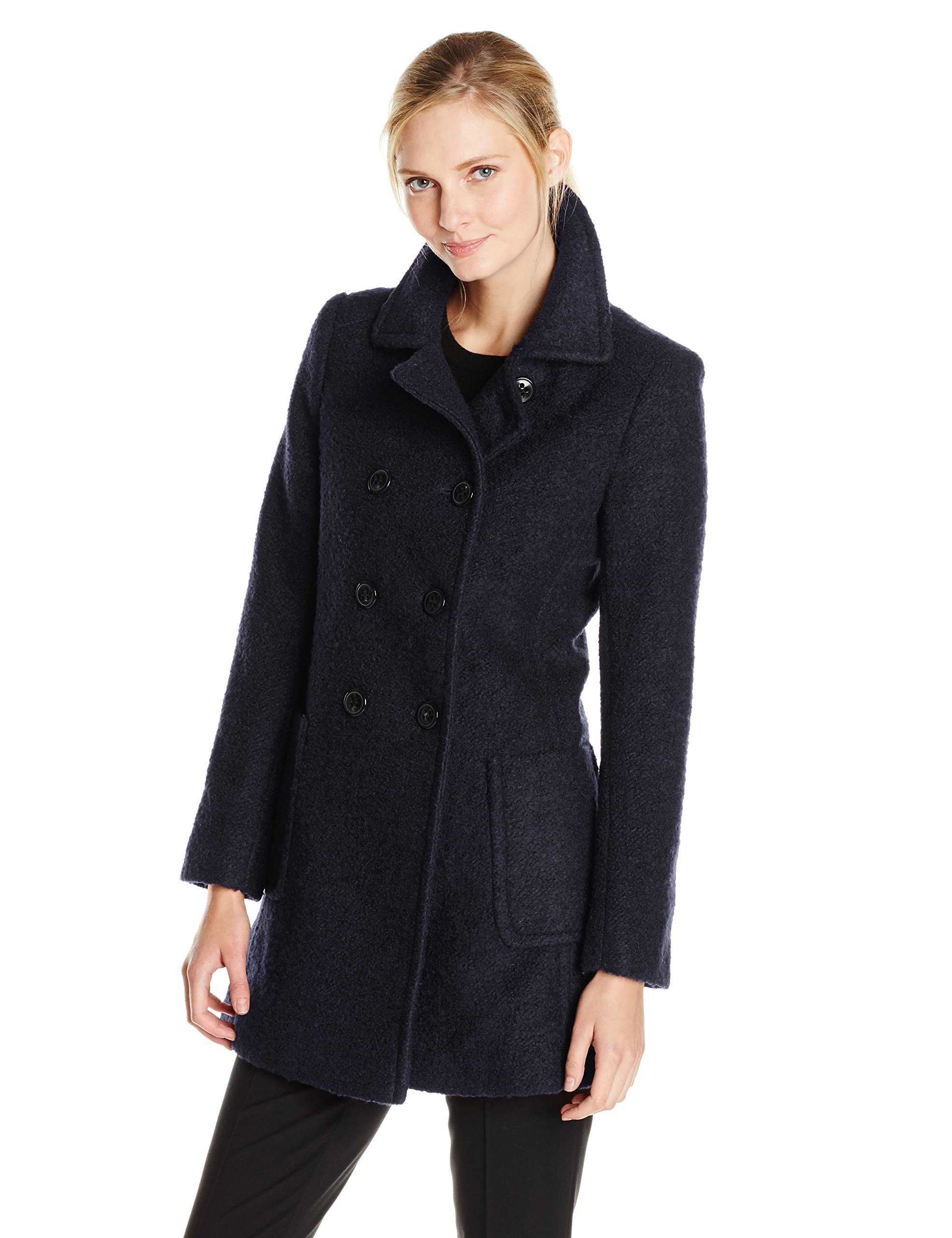 T Tahari Women's Double Breasted Wool Boucle Coat, Navy, X-Small
