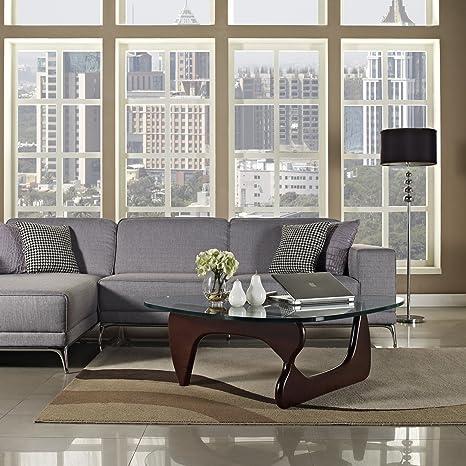 Amazon.com: Modway Triangle Coffee Table in Dark Walnut: Kitchen ...