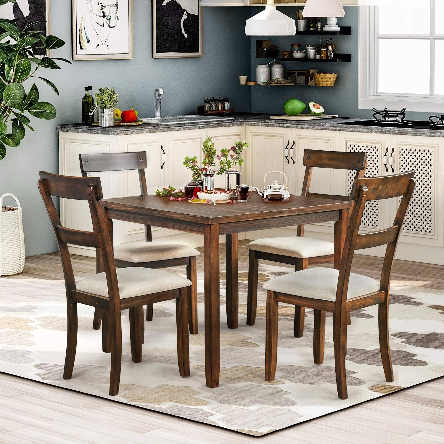 Amazon Com P Purlove 5 Piece Dining Table Set Rustic Wood Kitchen Table And 4 Chairs 5 Piece Wooden Dining Set For Kitchen Dining Room American Walnut Table Chair Sets