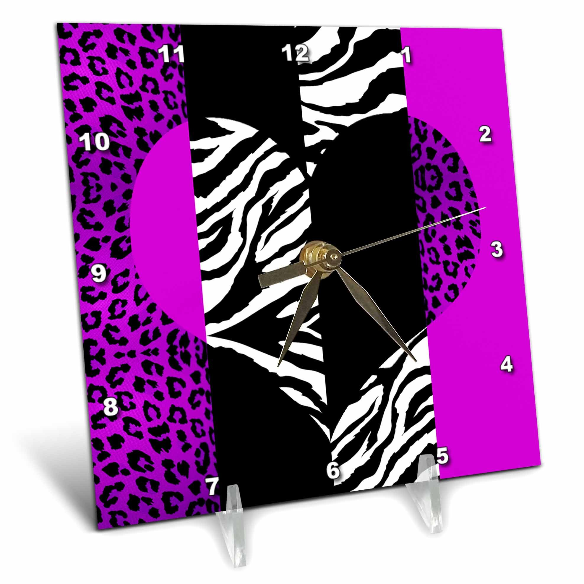 3dRose dc_35435_1 Purple Black and White Animal Print-Leopard and Zebra Heart-Desk Clock, 6 by 6-Inch