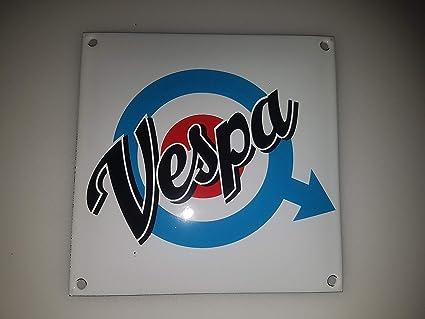 EMAILLE BBV Cartel (Vespa Sign 12 x 12 cm Email Taller IB ...