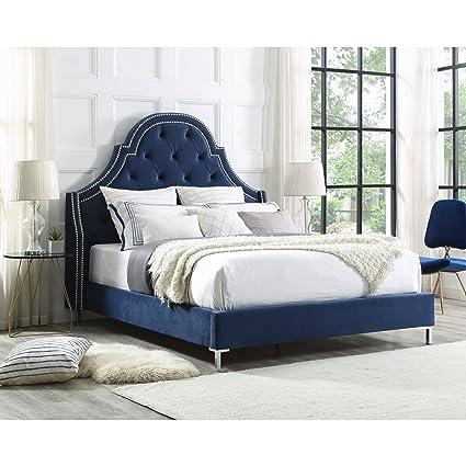 Amazon.com: InspiredHome Blue Velvet Platform Bedframe – Design ...