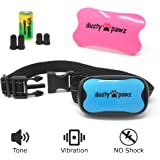 No Shock Bark Collar for Dogs - Bark Training with Sound and Vibration - 7 Sensitivity Levels - Humane Anti Bark Device - Stop Bark Collar for Small Medium & Large Dogs - Pink - Blue