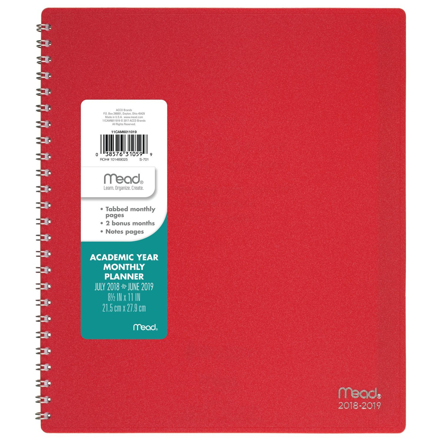 Mead 2018-2019 Academic Year Monthly Planner, Large, 8-1/2 x 11, Wirebound, Basic, Color Will Vary (CAM60110)