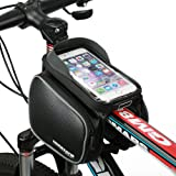 MOREZONE Bicycle Handlebars Bag For Smartphone Pouch With Touch Screen Bike Frame Bags For Cellphone Below 5.5 inch Top Tube Bag