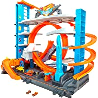 Hot Wheels FTB69 City Garage with Loops and Shark, Connectable Play Set with 2 Diecast and Mini Toy Car