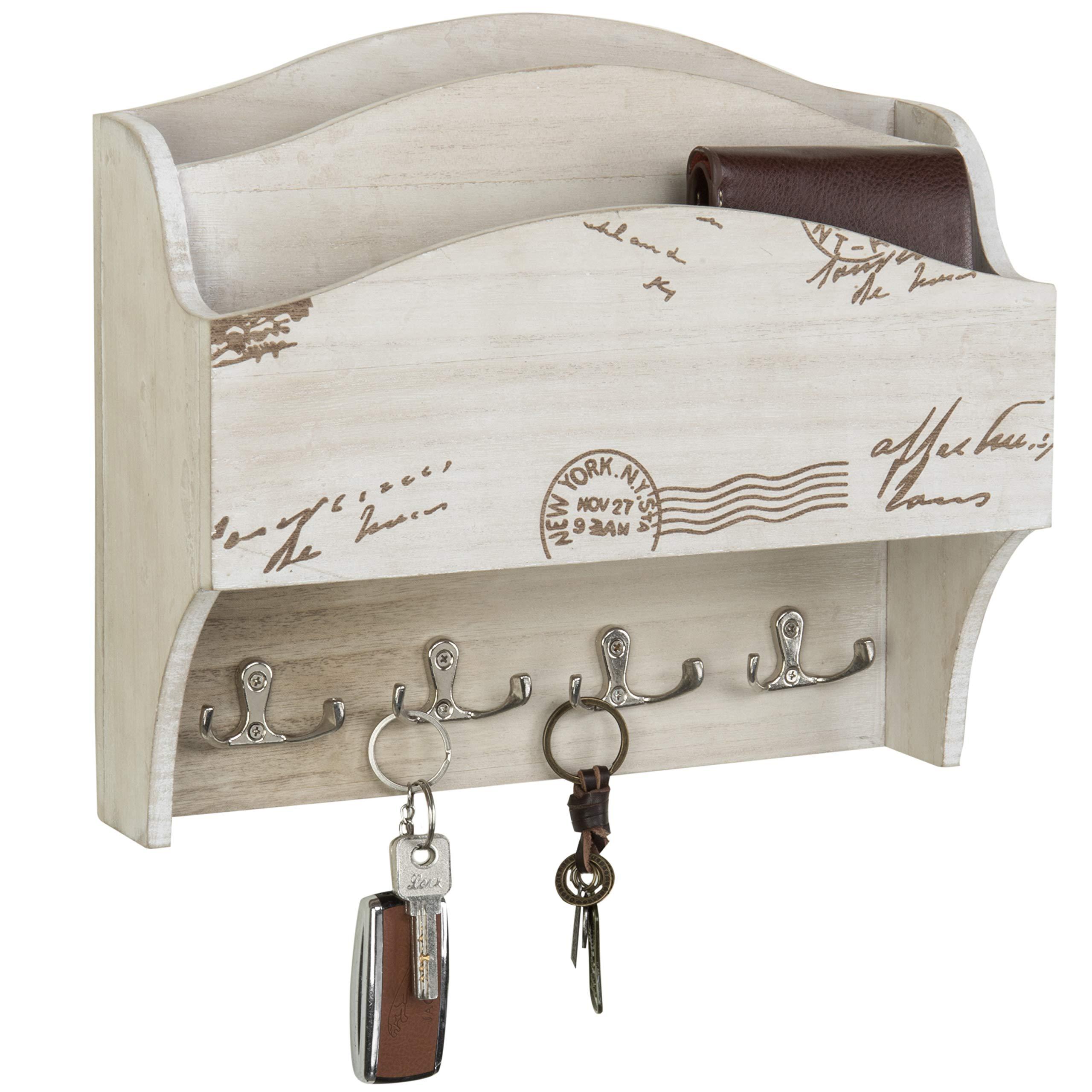 MyGift 2-Pocket Vintage White Wall-Mounted Mail Sorter & Key Hooks by MyGift