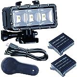 SupTig impermeable luz de alta potencia regulable doble recargable impermeable LED luz de vídeo Fill noche luz buceo bajo el agua Luz para GoPro Hero 5Héroe 4Hero 3Plus Hero 3Hero sesión y SJCAM o Xiaoyi