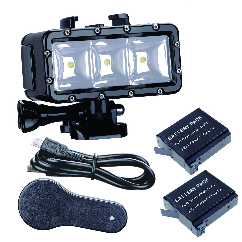 Suptig Waterproof Light High Power Dimmable Dual Battery Waterproof LED Video Light Fill Night Light Diving Underwater Light for Gopro Hero 6 Hero 5 Hero 4 Hero 3+ Hero 3 session and SJCAM or Xiaoyi