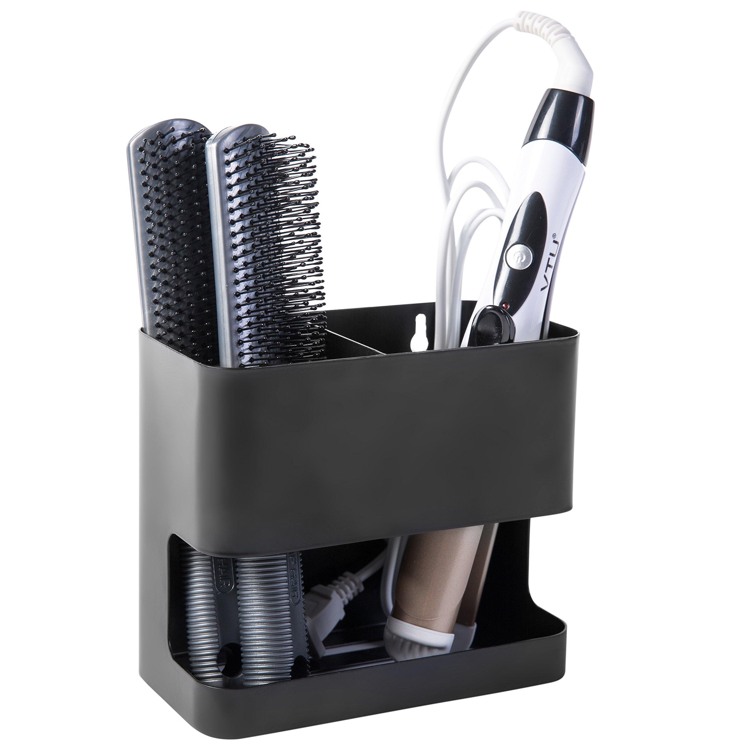 MyGift 2 Slot Black Metal Wall Mountable Hair Tool Accessories Organizer Rack, Blow Dryer & Curling Iron Holder