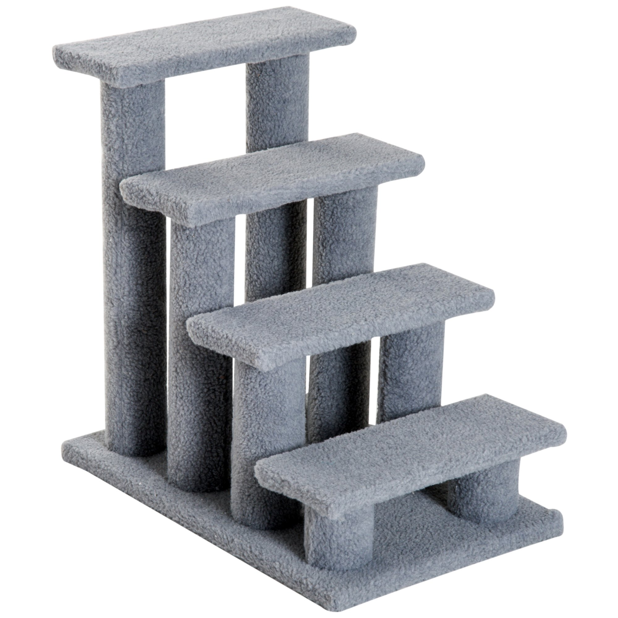 PawHut 24'' 4 Steps Carpeted Cat Scratching Post Pet Stairs - Grey