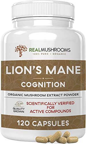 Lion s Mane Mushroom Cognition Capsules 120caps , Organic Lions Mane Mushroom Powder Extract Capsules, Brain Supplement, 60-Day Supply of Organic Mushroom Supplement Brain Vitamins, Focus Supplement