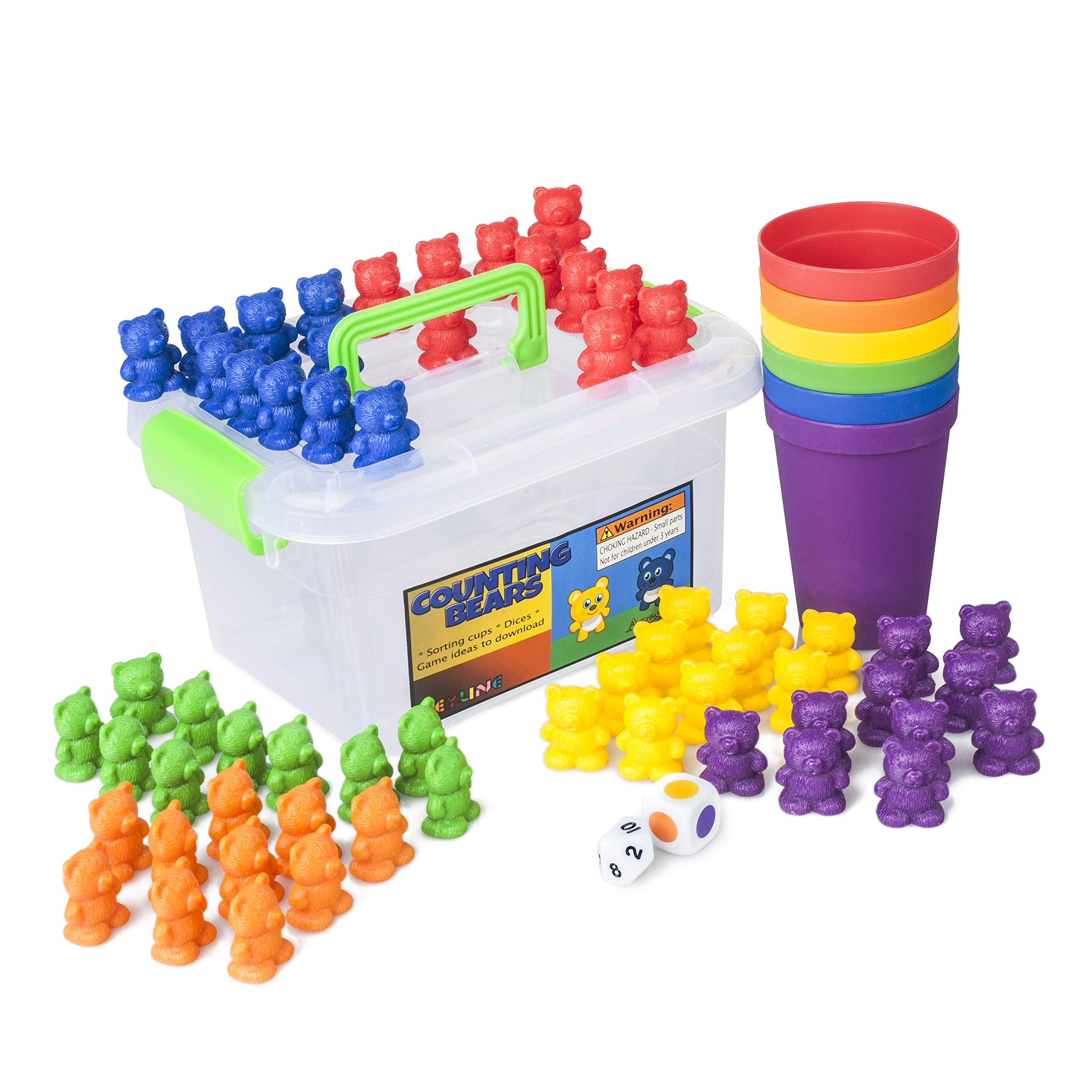 Counting Bears Early Learning Toy - 60 Rainbow Counters, 6 ...