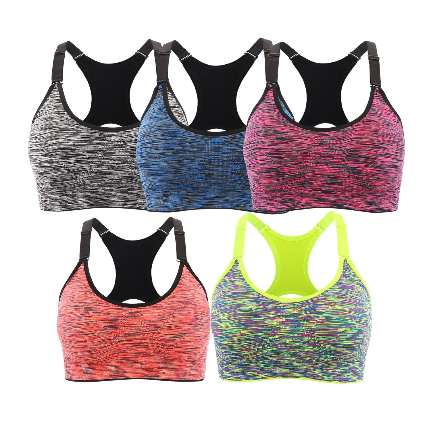 EMY Sports Bra 5 Pack Cami Space Dye Seamless Wirefree Stretchy Removable Pads for Fitness Gym Yoga Running (L, 5 Pack) by EMY
