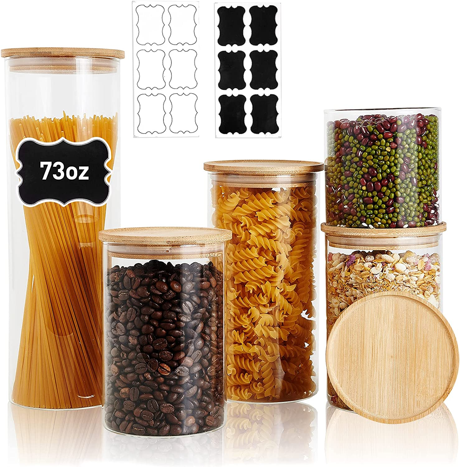 LIFESENCE Canisters Glass Kitchen Containers Set of 5 Glass Food Storage Jars with Bamboo Airtight Lids and Labels for Kitchen Bathroom 73 oz 48 oz 35 oz and 22 oz Ideal for Pasta Coffee Cookie Candy and More