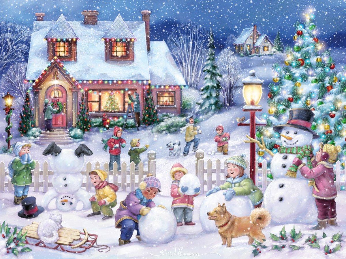 Snowman Celebration Jigsaw Puzzle 550 Piece Vermont Christmas Company