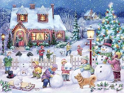 Christmas In Vermont.Snowman Celebration Jigsaw Puzzle 550 Piece