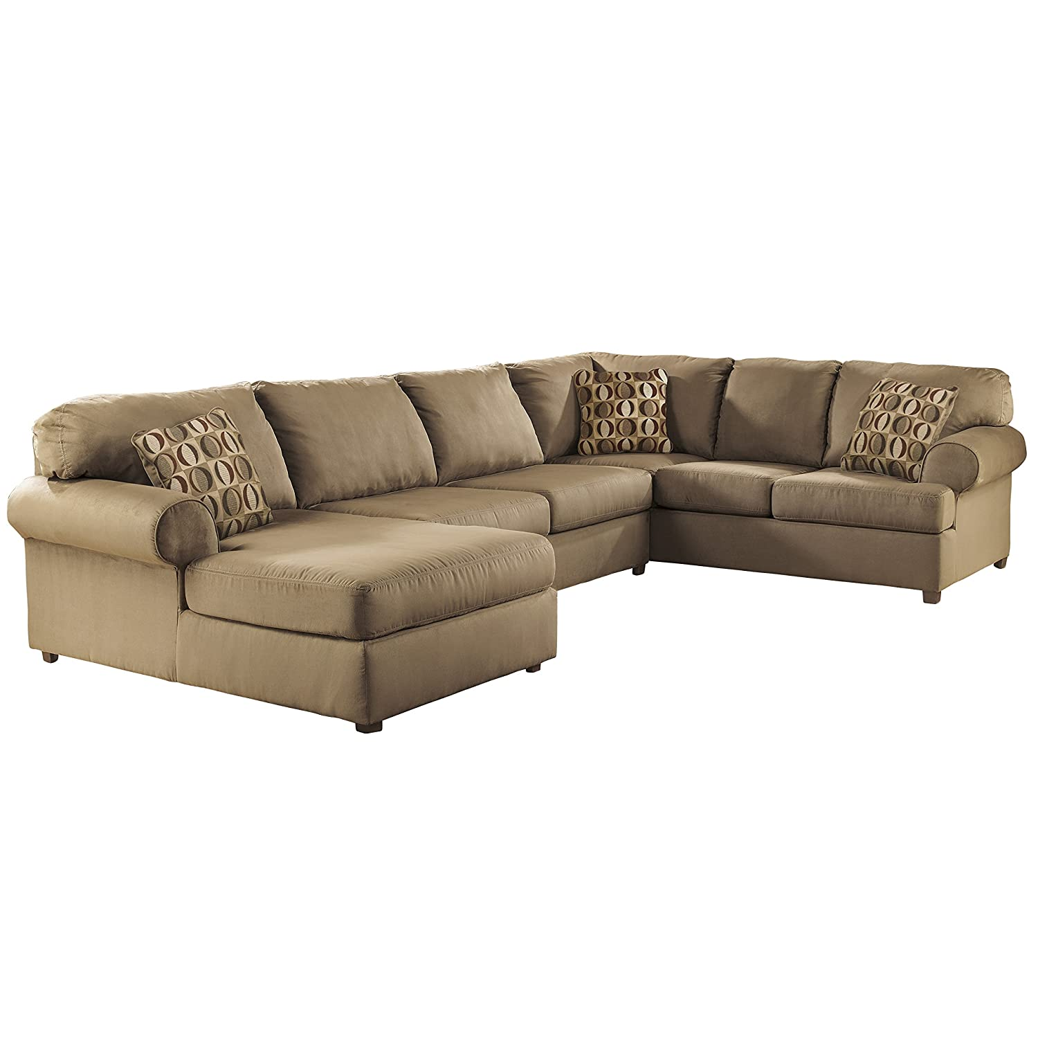 Amazon.com: Flash Furniture Signature Design By Ashley Cowan Sectional In  Mocha Fabric: Kitchen U0026 Dining