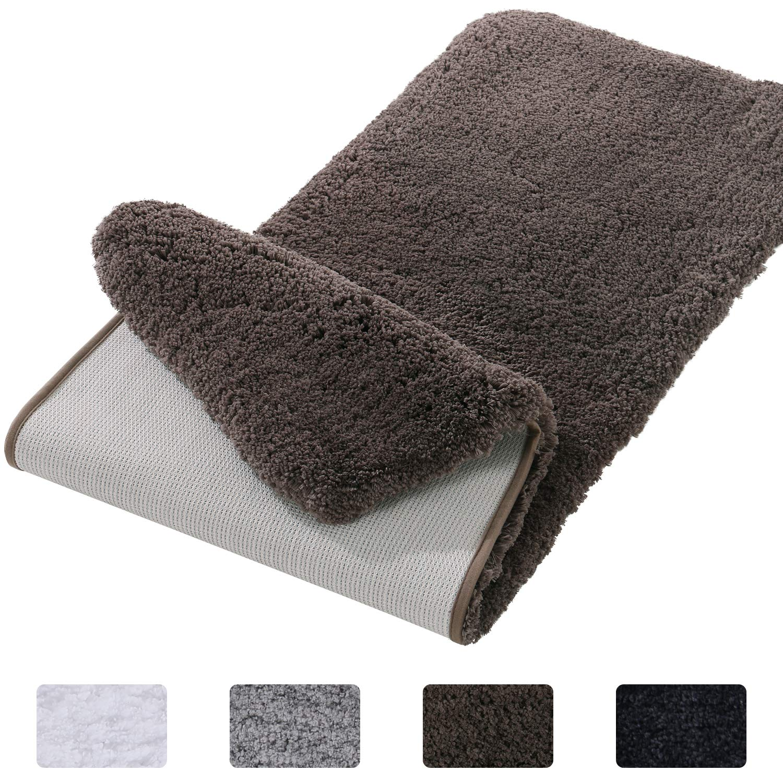 Lifewit Bathroom Rug Bath Mat Non-Slip Rubber Microfiber Soft Water Absorbent Thick Shaggy Floor Mats, Machine Washable, Brown,59''x20''