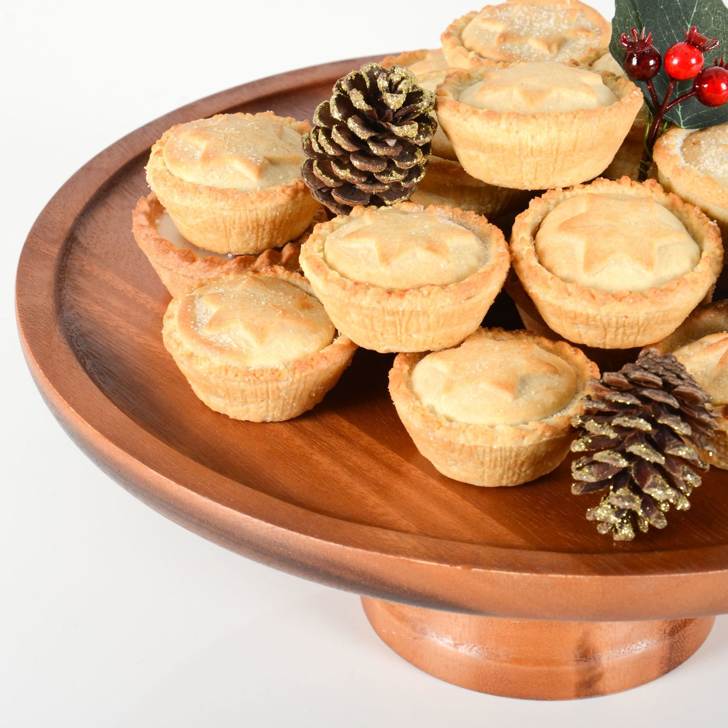 Amazon.com: Acacia Wood Cake Stand 33cm - Rustic Wooden Food Stand ...