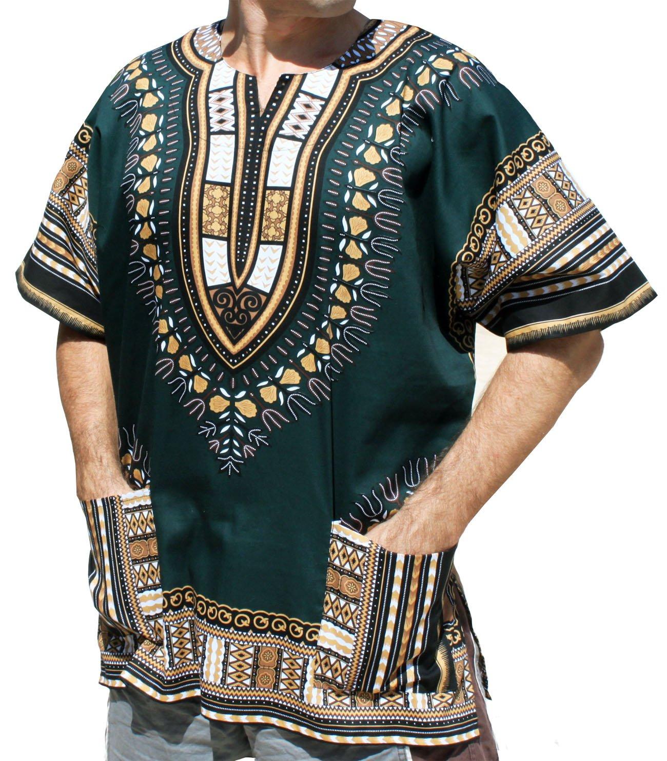 Raan Pah Muang RaanPahMuang Unisex African Bright Dashiki Cotton Shirt Variety Colors, Large, Green Brown