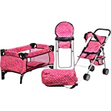 Doll Play Set 3 IN 1 Doll Set, 1 Pack N Play. 2 Doll Stroller 3.Doll High Chair. Fits Up to 18'' Doll