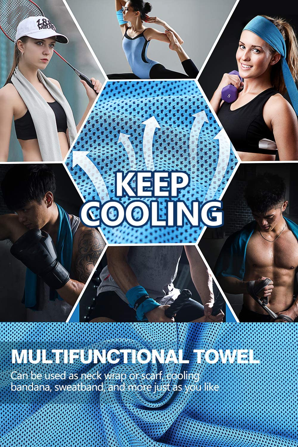 Instant Cool Towel Sport Cooling Neck Wraps for Summer Soft Breathable Chilly Towel for Yoga Cooling Towel for Neck 5 Packs Workout Gym Fitness 40x12 Running Cooling Towel Camping