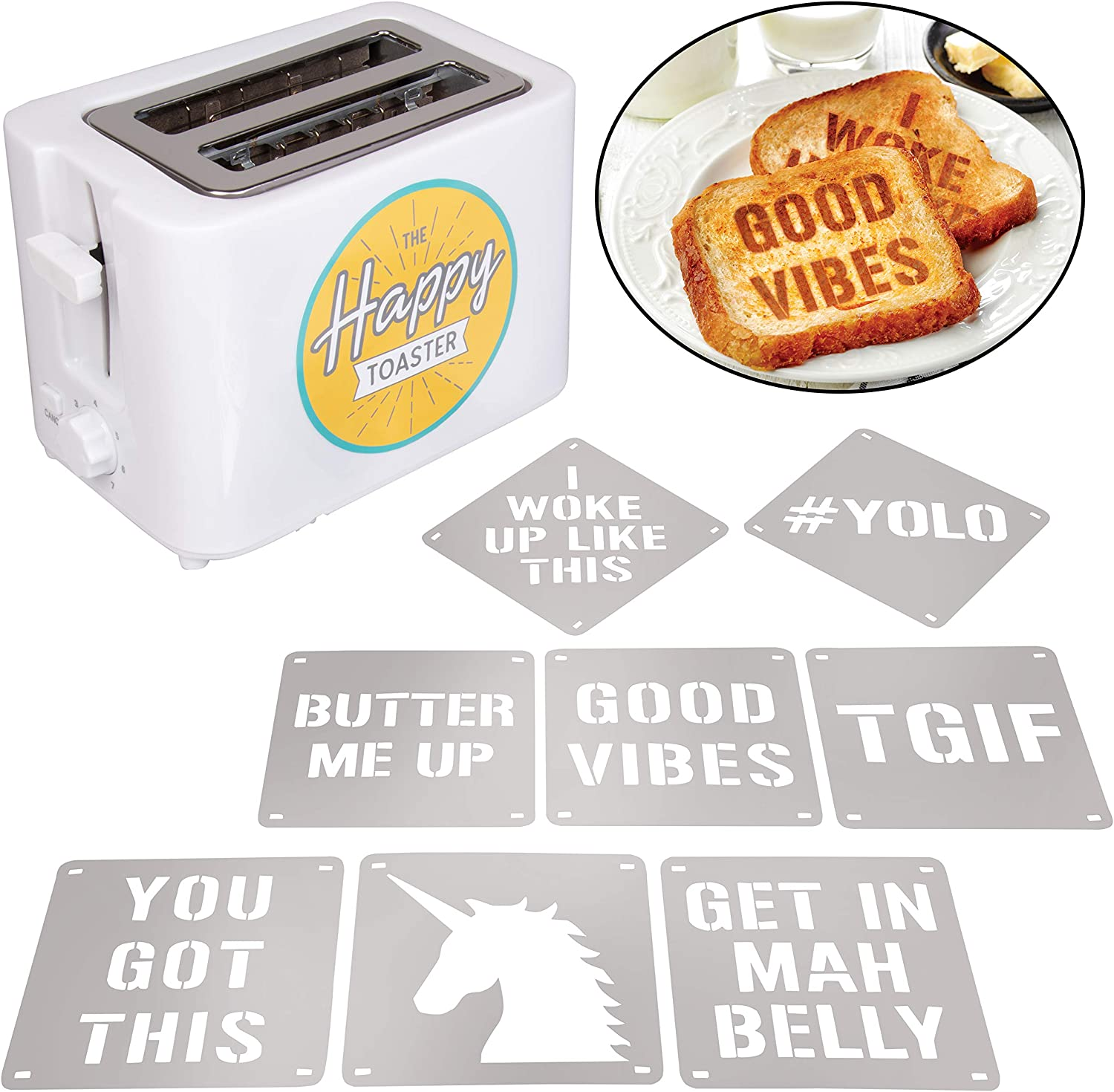 2-Slot Impression Toaster with 8 Interchangable Happy Morning Novelty Design Plates - Make Breakfast Happy! Great for Mother's Day