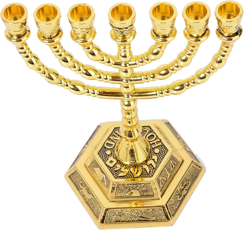 Menorah Holy Land Gift singlotat 12 Tribes of Israel Jerusalem Temple Menorah,7 Branch Hexagonal Base Jewish Candle Holder