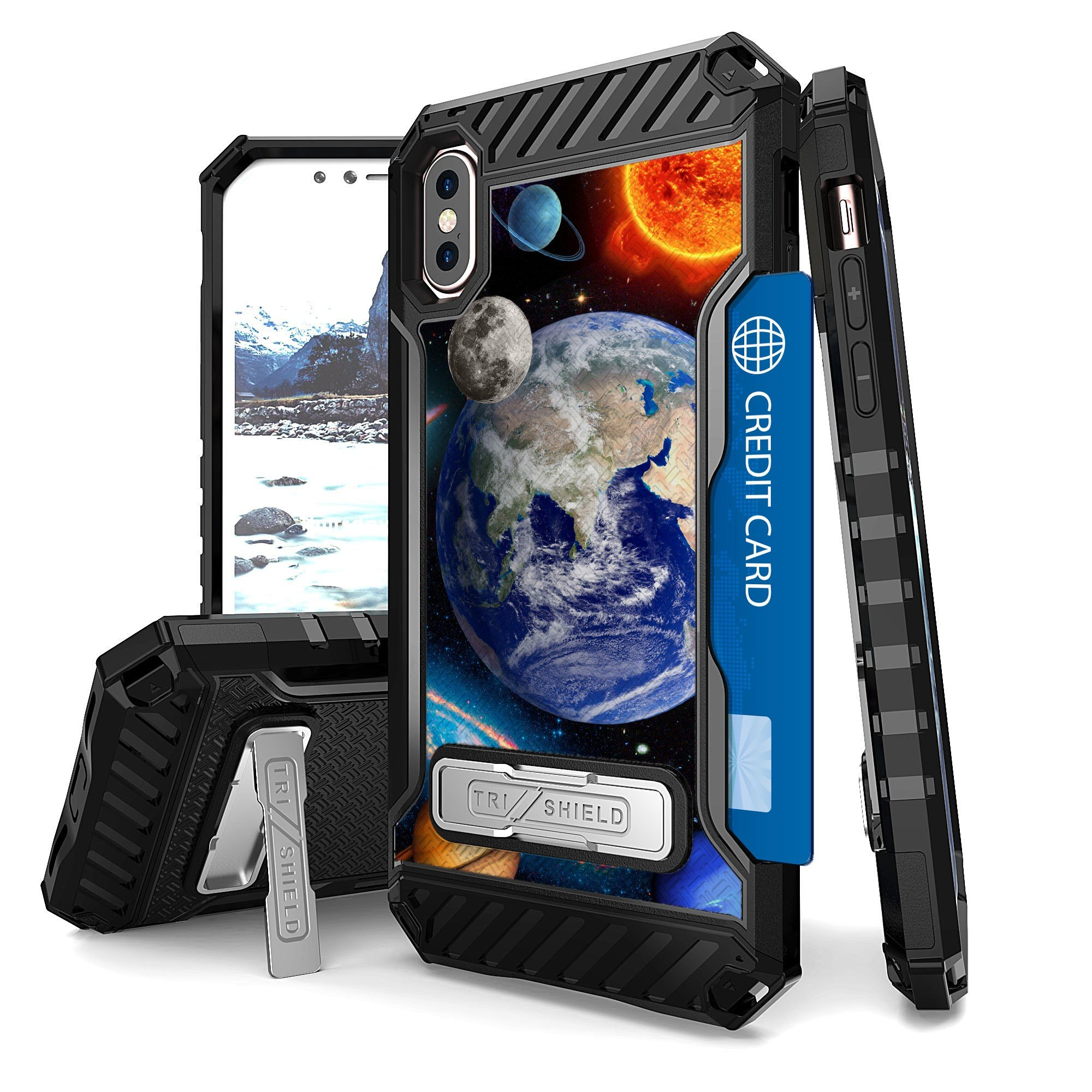 Iphone X Case, Trishield Durable Shockproof High Impact Rugged Armor Phone Cover With Detachable Lanyard Loop Card Slot Built In Kickstand For Iphone X - Solar Planet Galaxy