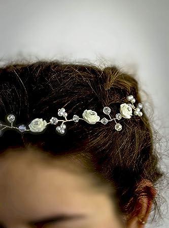 Haarreif Haarband Kopfschmuck Hochzeit Kommunion Braut NEU Perle Weiß