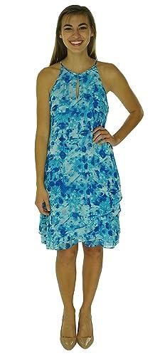 Calvin Klein Womens Halter Printed Party Dress