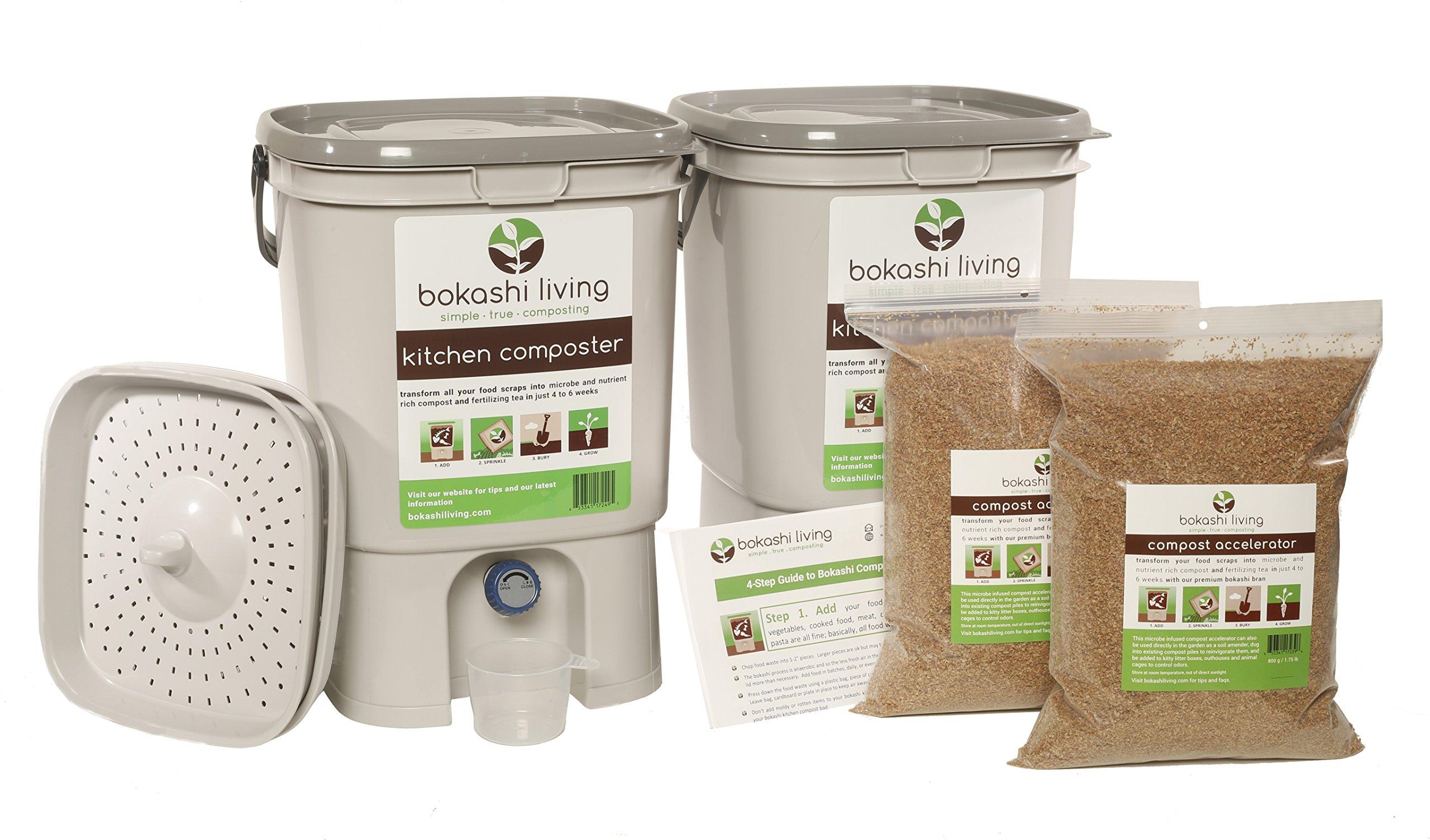 2 bin Bokashi Composting Starter Kit (includes 2 bokashi bins, 3.5lbs of bokashi