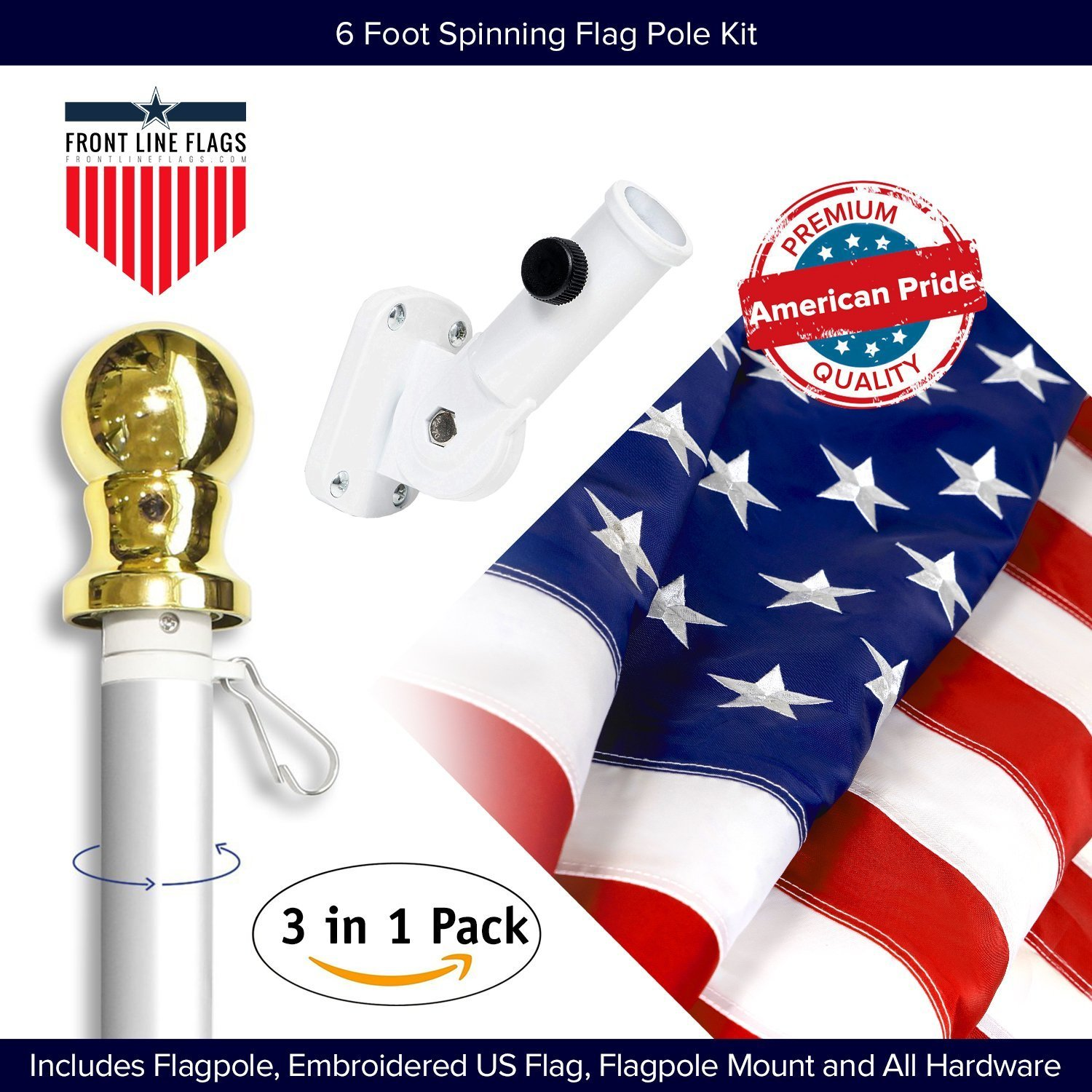 American Flag Kit Includes: 6ft Spinning Flagpole, 3x5 Embroidered US Flag, Adjustable Wall Mount Flag Holder, Commercial Residential Indoor Outdoor Use | US Flag Kit, Silver