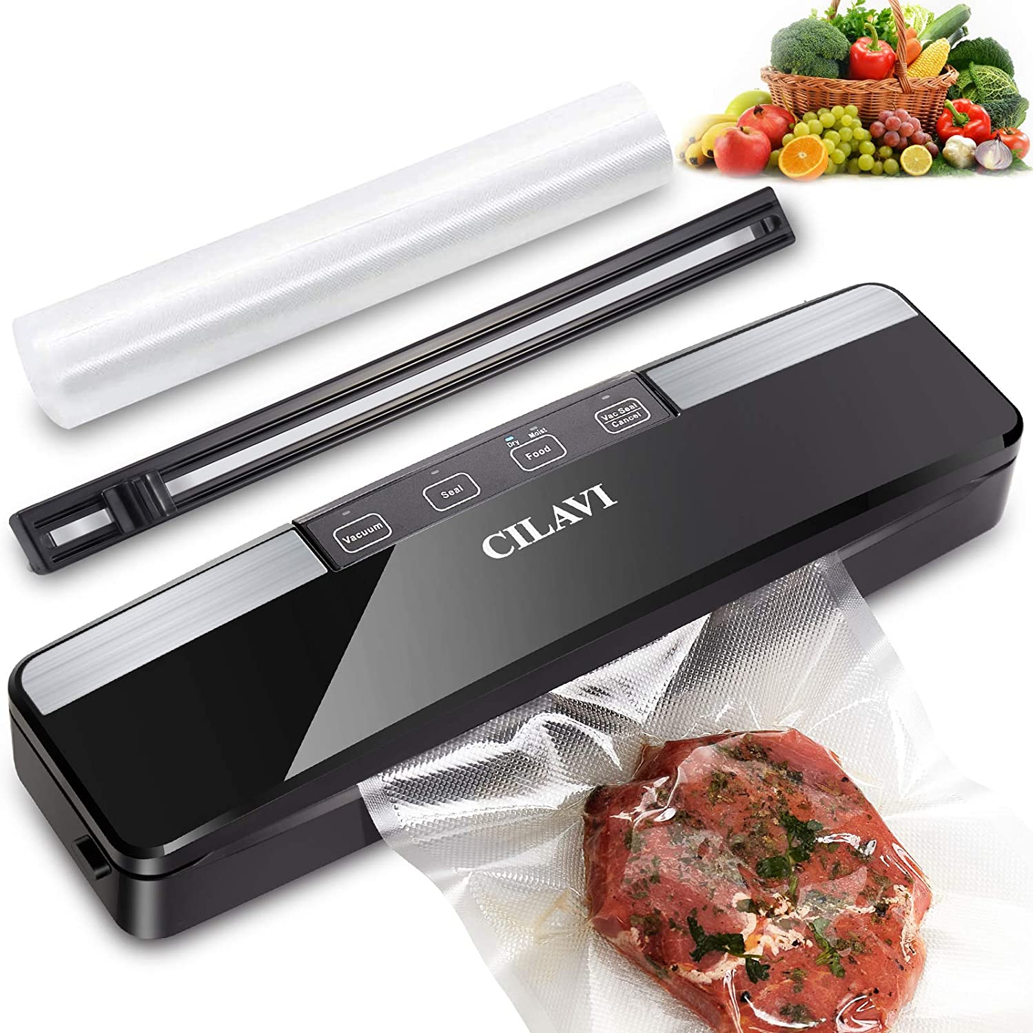 CILAVI Food Vacuum Sealer Machine with Roll Cutter & Hose Automatic Food Saver with 10pcs Vacuum Sealer Bags, Dry and Wet Food Vacuum Sealing,Great for Bag Jar Container Food Sealer Storage