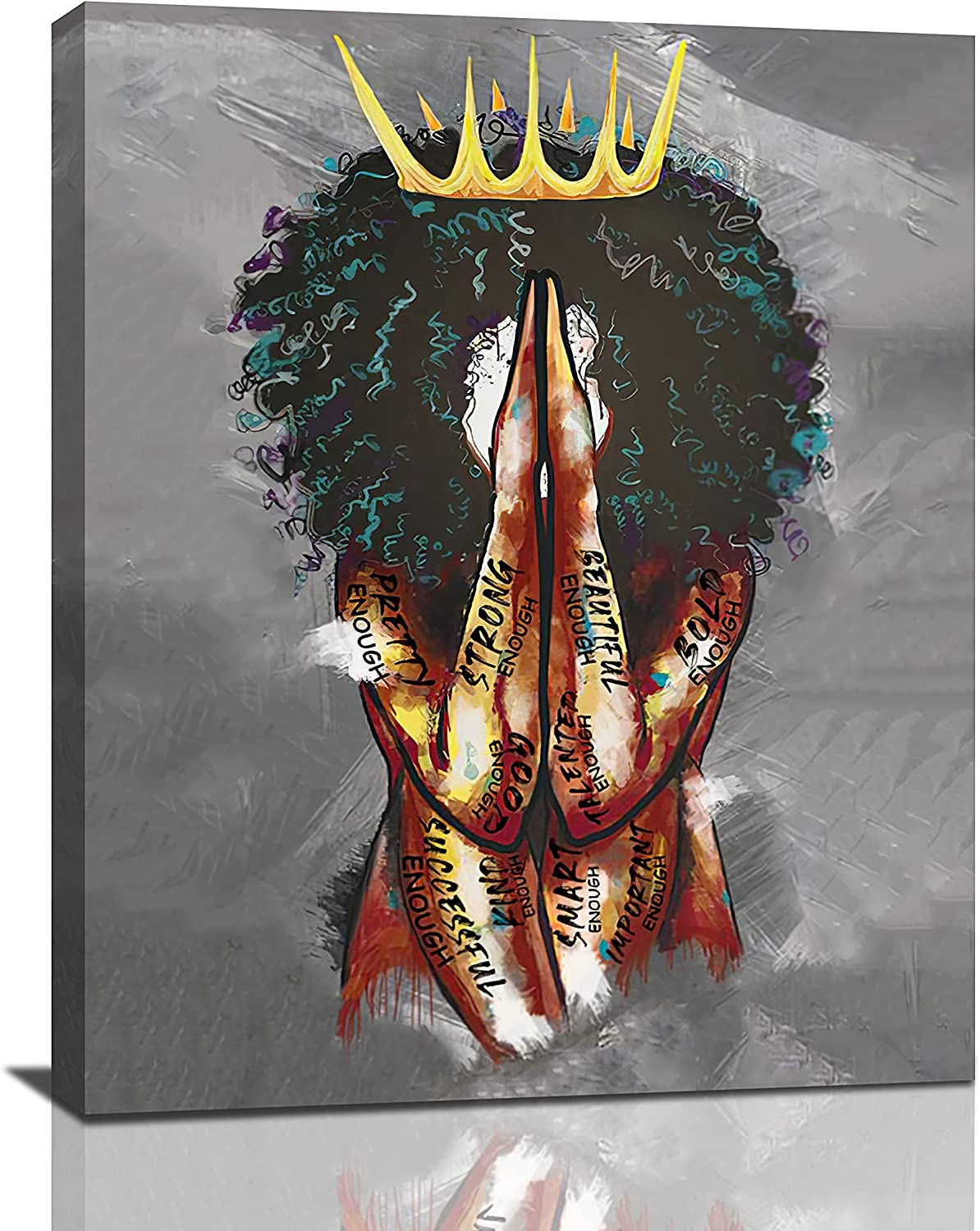 Black Queen Women Wall Art African American Painting Funny Artworks Gray Pictures Matte Giclee Canvas Art For Living Room Bedroom Bathroom Home Decor 16x20inch