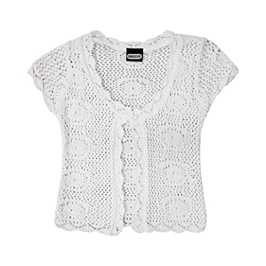 0f9902a2 Fatal Fashion White Crochet Cardigan Cap Short Sleeve Knitted Cardigan by  FF (S/M