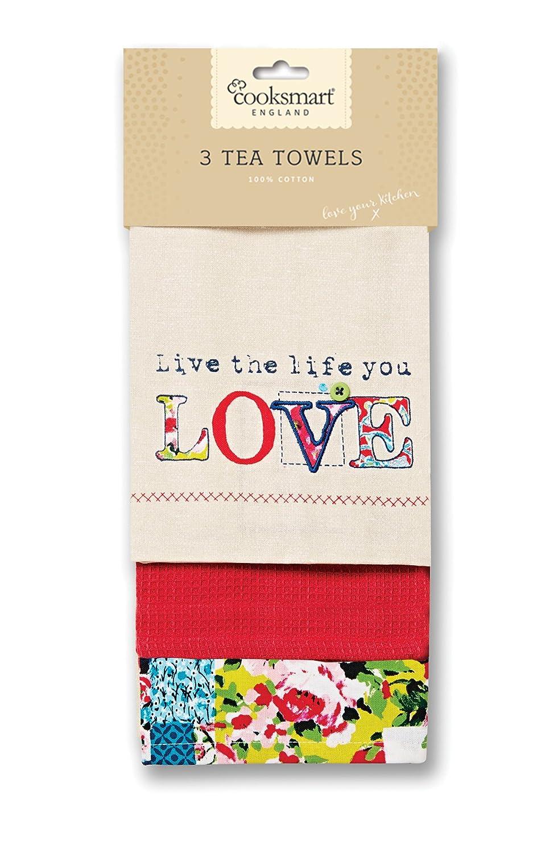 Cooksmart Oriental Patchwork Tea Towels, Multi-Colour, Pack of 3 City Look Imports Ltd 9345