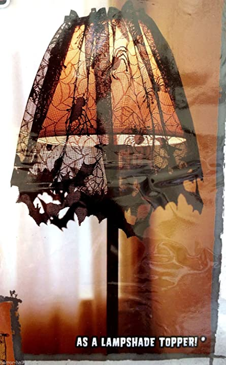 Amazon gothic black lace bat spider lamp shade topper valance gothic black lace bat spider lamp shade topper valance swag haunted house decor aloadofball Image collections