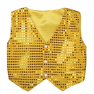 renvena Kids Boys Glittery Sequined Vest Waistcoat Choir Jazz Street Dancing Costume Stage Performance Wear: Clothing