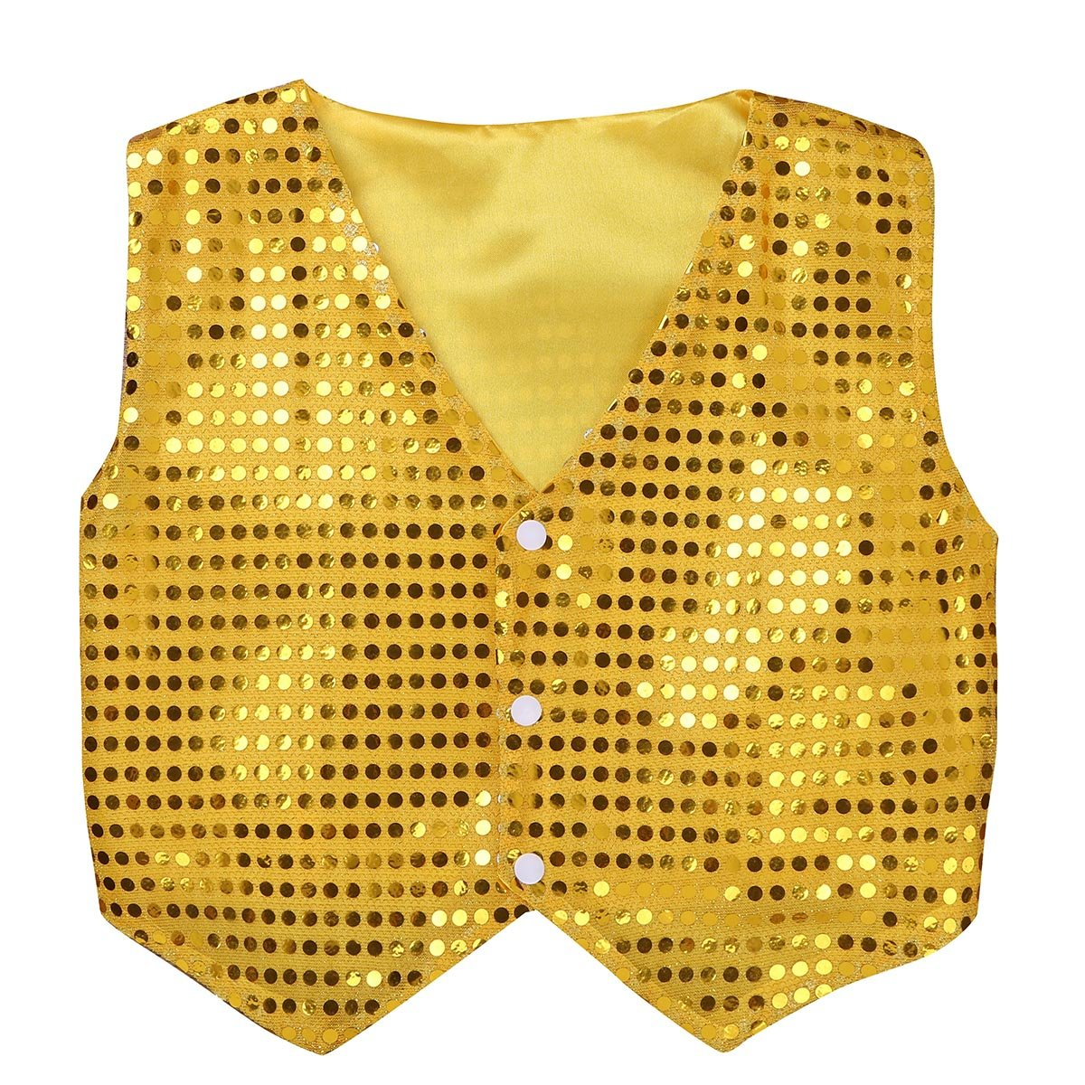 MSemis Kids Boys Shiny Party Costume Vests Sequins Waistcoat for Hip-hop Jazz Dance Stage Performance Gold 7-8