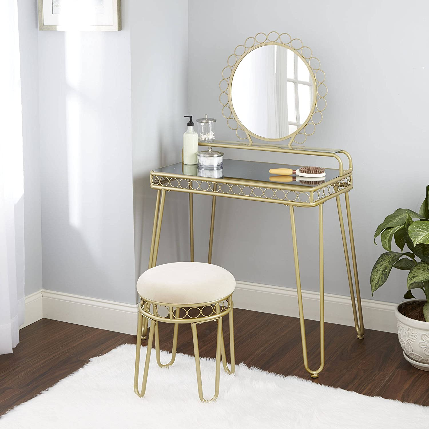 Better Homes and Gardens Mirabella Vanity & Stool, Gold