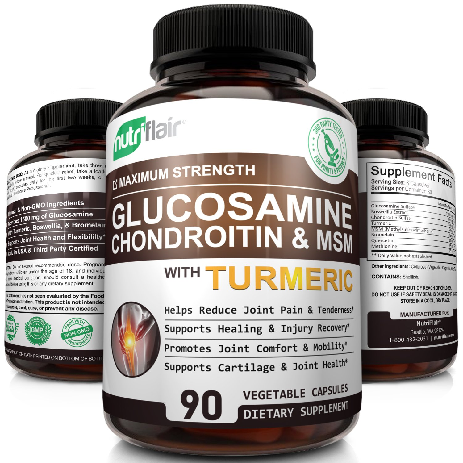 NutriFlair Glucosamine Chondroitin Turmeric MSM Boswellia - Joint Pain Relief Supplement - Natural & Non-GMO - Anti-Inflammatory & Antioxidant Pills - Supports Back, Knees, Hands, Joints, Cartilage