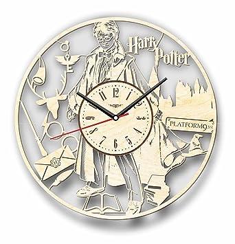 Harry Potter reloj de pared hecho de madera – perfecto y muy bien corte – Decora