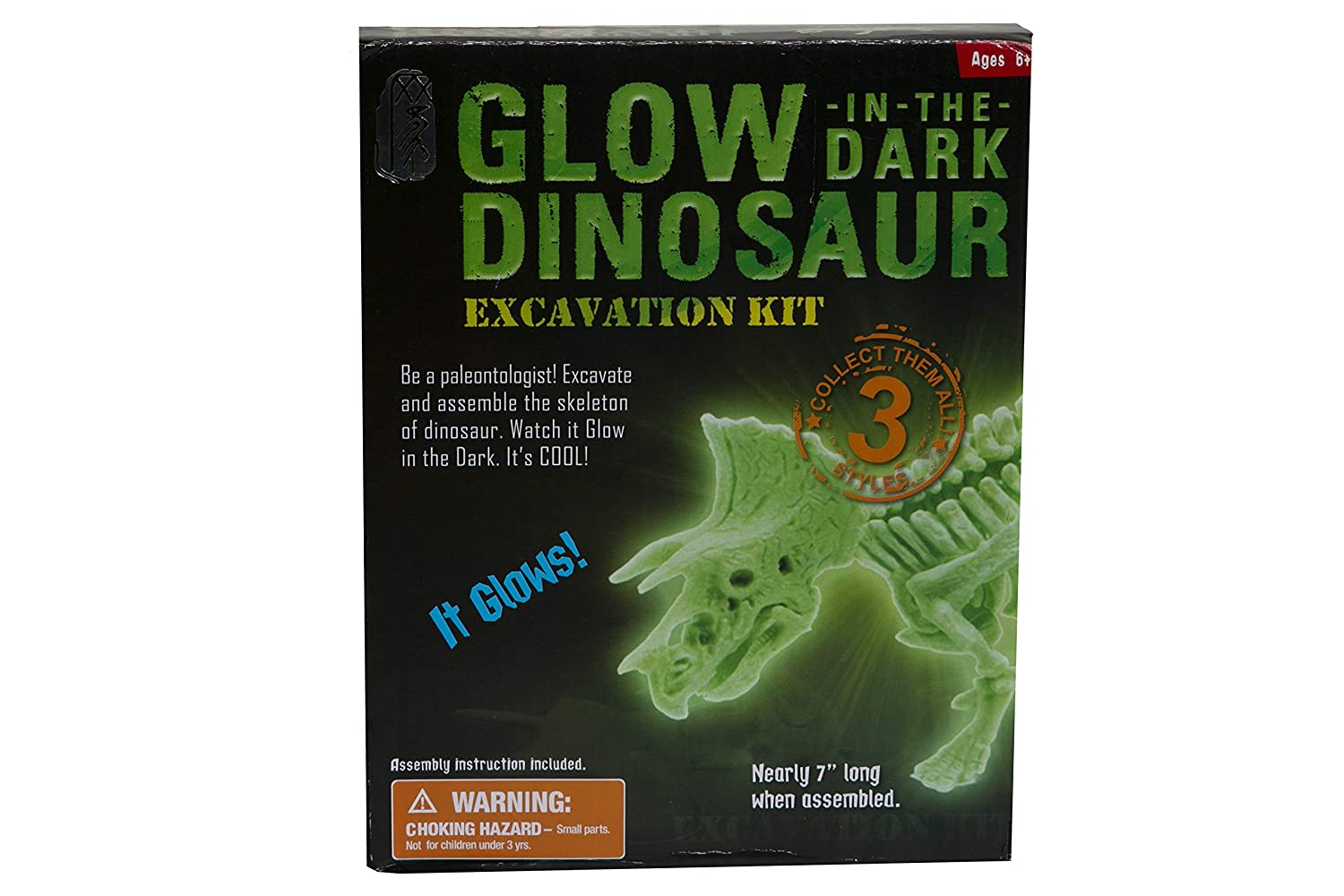 3D Puzzle and Educational Toys for Kids Fun Gift Archaeology Science kit Night Glow Discovery Skeleton Triceratops NewRecruits Jurassic Fossil Dinosaur Excavation kit
