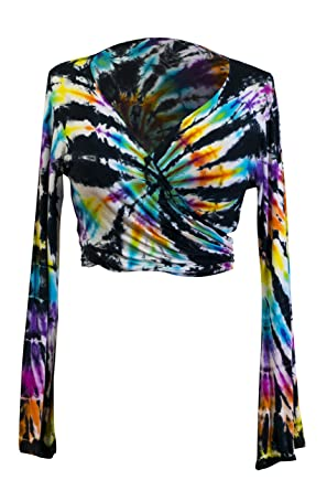 3493286b5ca Tie Dye Crop Top Wrap Colourful Long Flare Sleeve Festival Hippie Front  Back Tied Cropped Top (Colourful Bright A): Amazon.co.uk: Clothing