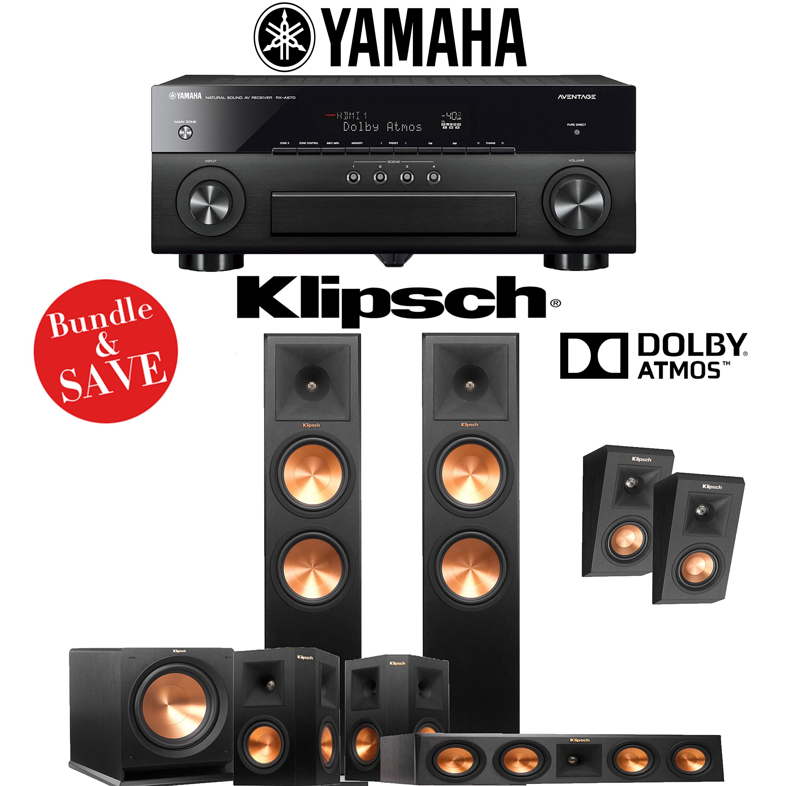 Klipsch RP-280F 5.1.2-Ch Reference Premiere Dolby Atmos Home Theater System with Yamaha AVENTAGE RX-A870BL 7.2-Channel Network AV Receiver