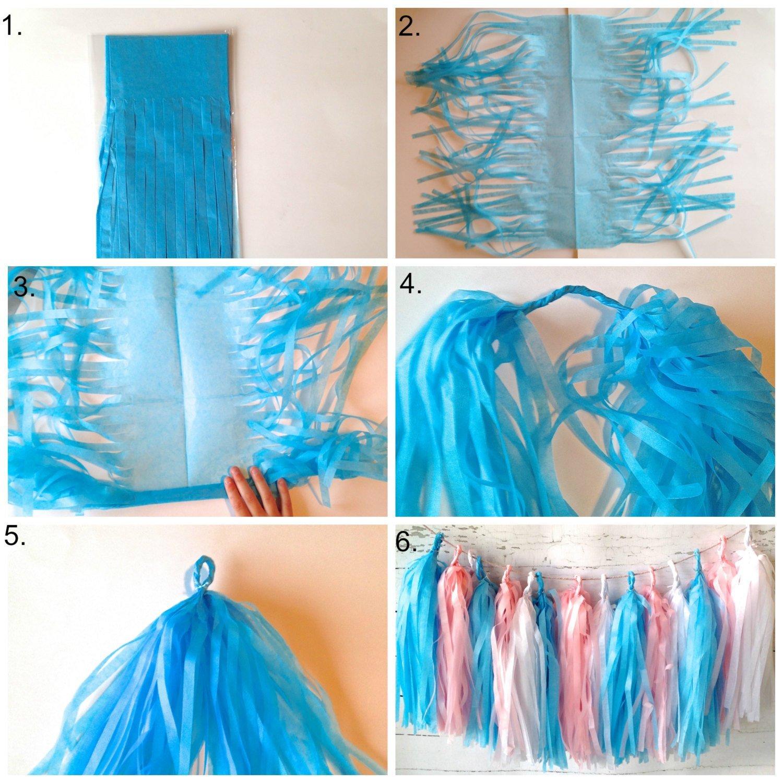 dreammadestudio Mixed Pink Grey White Tissue Paper Tassel Garland